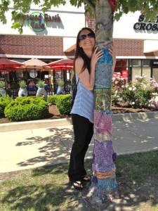 Laura Bruno really loves (yarn bombed) trees!