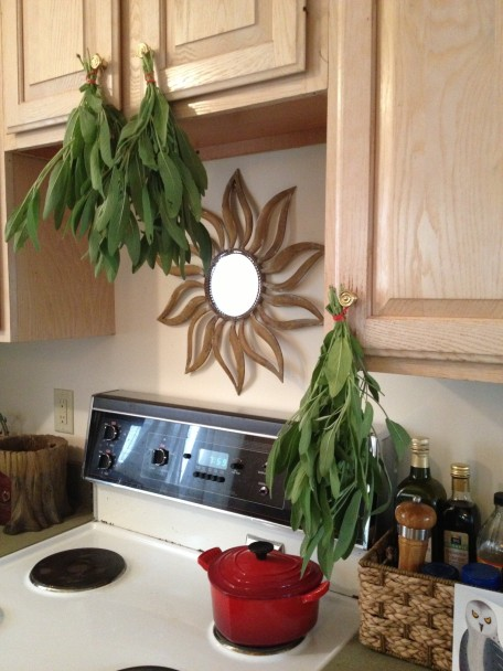 In fact, we have sage hanging all over the place right now as I attempt to learn how to make sage smudge sticks.