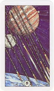 Eight of Wands from the Robin Wood Tarot deck