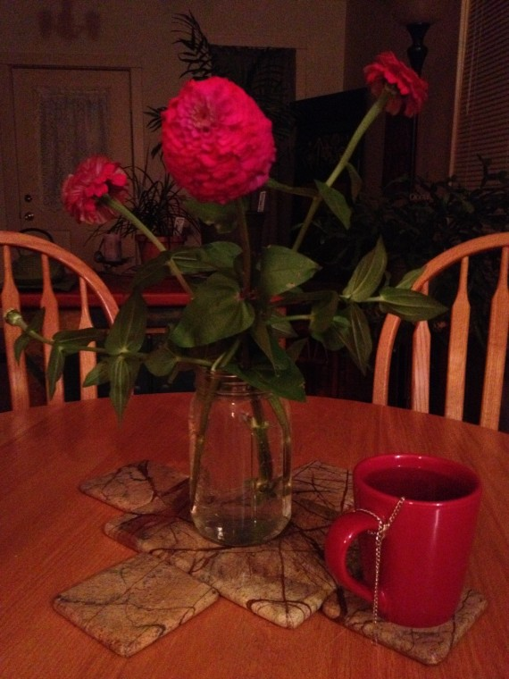 Homegrown zinnas and a cup of home-dug, home-roasted and home-brewed dandelion root tea. Ahhh!