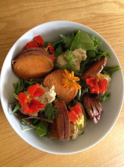 Sweet Potato and Flower Salad