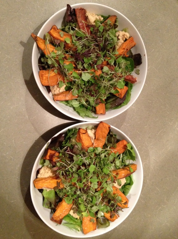 Sweet Potato Hummus and Microgreens