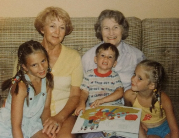 me, Gramma Irene, Grandma Van, my brother Craig and my sister, Erica