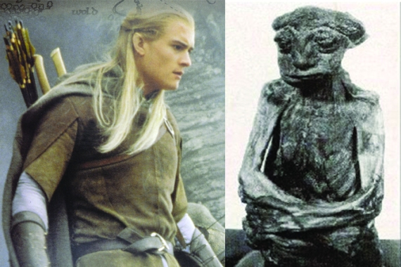 """Left: An elven character in """"Lord of the Rings,"""" Legolas as shown on a New Zealand stamp. (Shutterstock*) Right: A mummy found in the Pedro Mountains in Wyoming believed by some to be the remnants of an elf. (Wikimedia Commons) Read more: http://www.theepochtimes.com/n3/427555-real-evidence-of-mythical-creatures-hobbits-video/#ixzz2q6pyT3UP Follow us: @EpochTimes on Twitter 