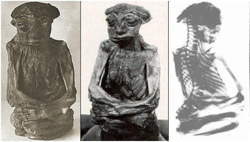 A mummy found in the Pedro Mountains in 1932, thought to be possible evidence of the Nin' am-bea little people of whom the local Shoshone natives spoke. (Wikimedia Commons)