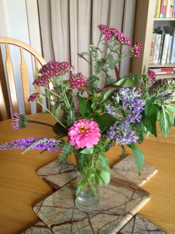 zinnia, lavender, veronica, yarrow, mint and lovage bouquet for David's mom