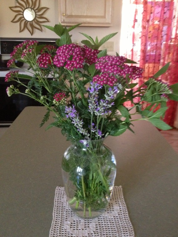 yarrow, mint and lavender bouquet