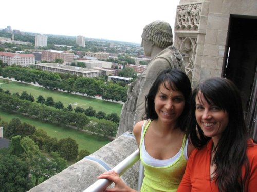 At the top of Rockefeller Chapel in Chicago