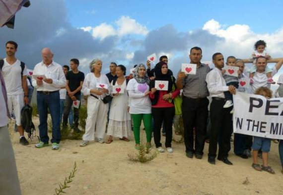 Rahel, fifth from left, in Palestine, one of the Silent Walks of Palestinians and Israelis, September 2013.