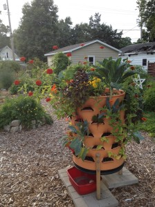 In addition to the giant poke, the Garden Tower remains a conversation piece. This one has been harvested and replanted in some spots for fall.