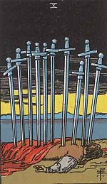 Ten of Swords from the Rider-Waite deck, illustrated by Pamela Colman Smith