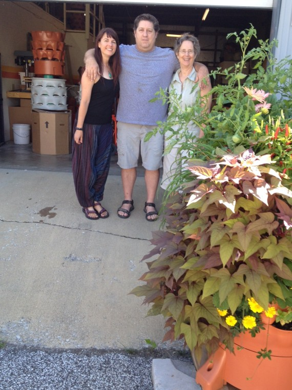 Laura Bruno, Colin Cudmore, and Ann Kreilkamp at the Garden Tower Project warehouse